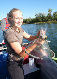 Lindsey Wilson with retrieved emergence trap Nakamun Lake Sept 09