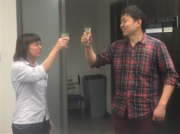 HP and Zhuoyan toasting the happy outcome.